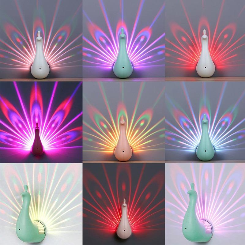 R Pavo Cambio Casa Noche Lindo Luz Moda Led 7 Color Real qSUVzMp