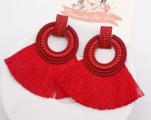 nuevo estilo 88a55 7e11a Moda Aretes Borlas Hilos Tassles Con Metal Vintage Rojo