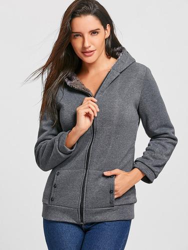 moda casual de las mujeres espesar con capucha abrigo prenda