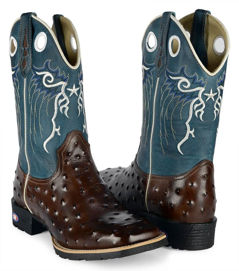 moda country sb bota botina texana avestruz bico quadrado. Carregando zoom. d4fd07d2b96