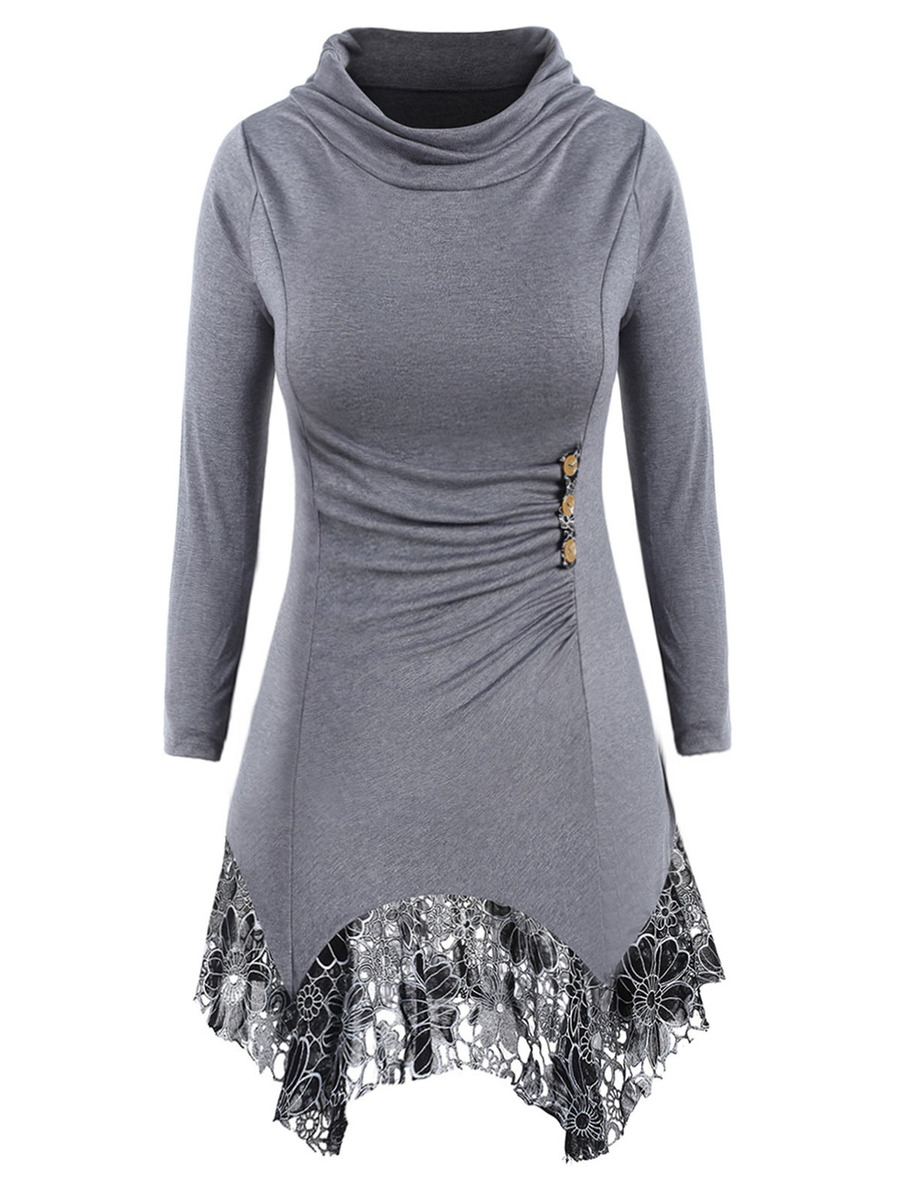 ab0c647f60f moda cuello montón encaje casual vestido para las mujeres. Cargando zoom.