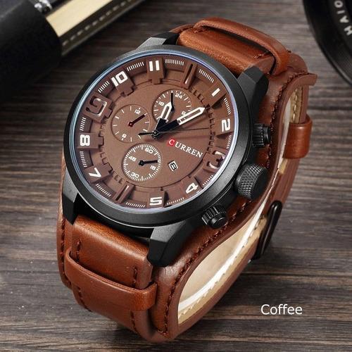 moda curren mens fecha acero inoxidable cuero cuarzo reloj