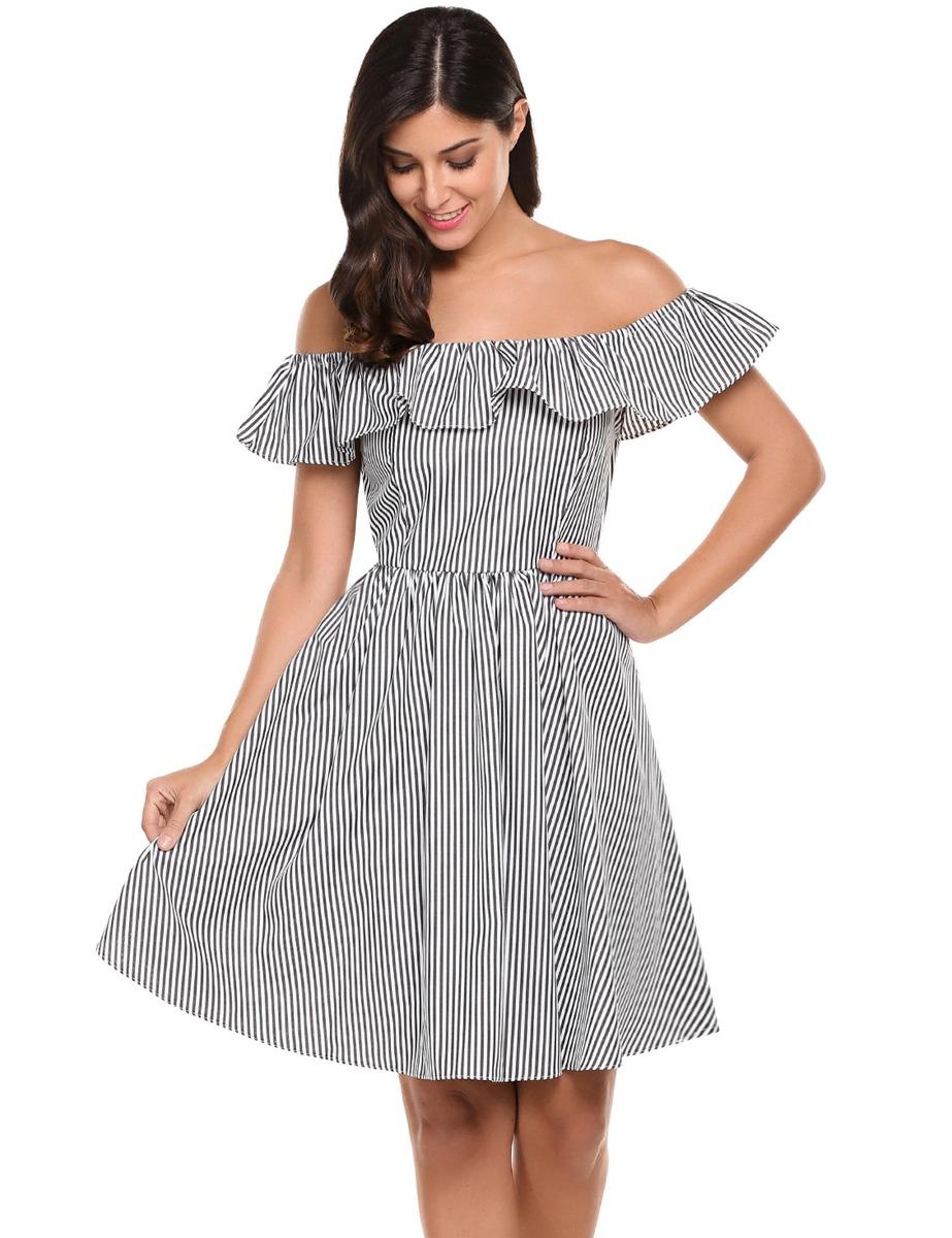 271b1f4e4 Moda De Verano De Las Mujeres De Hombro Vestido De Pliegue R ...