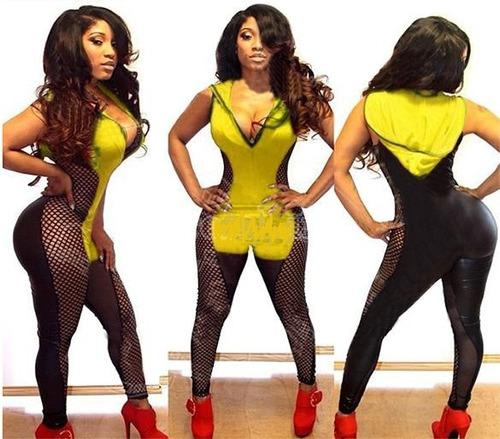 moda fiesta sexy body con tela de red amarillo con negro