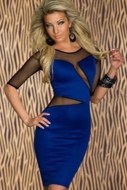 moda fiesta sexy mini vestido azul con transparencias 2755