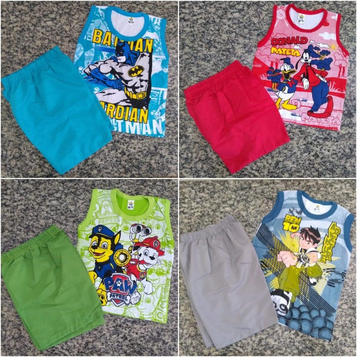 a1aeb37d6 moda infantil kit 6 conjuntos meninos roupa personagens. Carregando zoom.