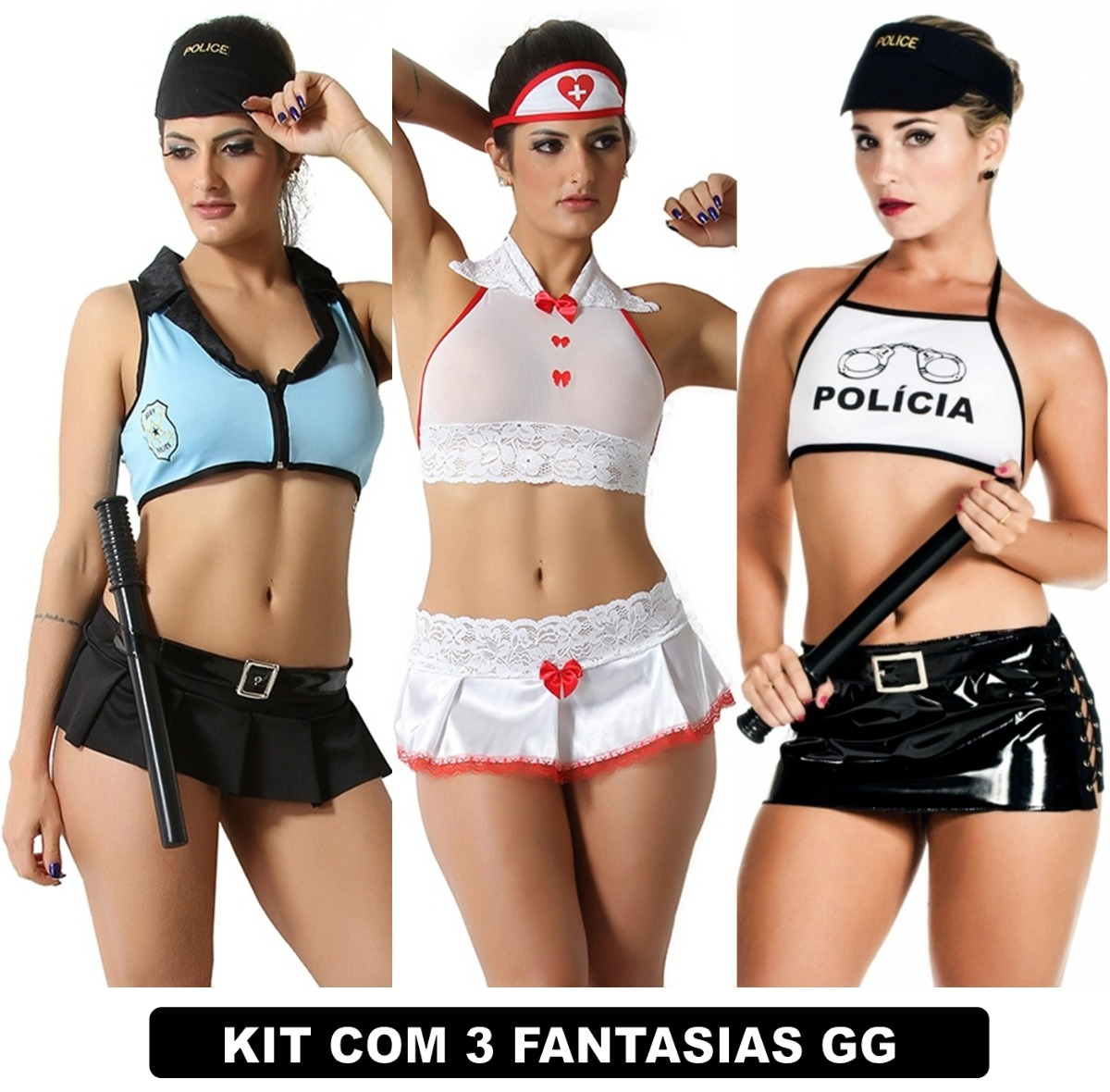 bcbef2181 moda íntima fantasia plus size feminino kit com 3 uni gg. Carregando zoom.