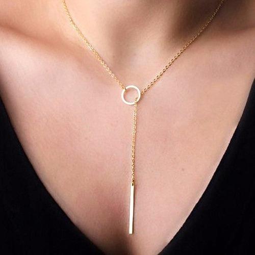 moda joias feminina colar ajustáve dourado com pendentes