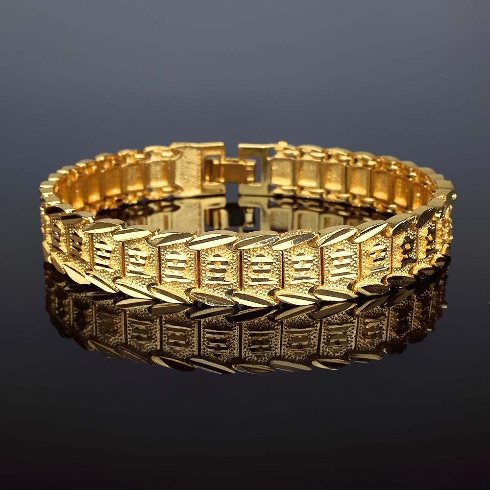 66200833edfe moda joyas clásico mujeres hombres pulsera 18k real oro. Cargando zoom.