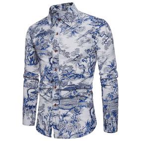 50176e066 Moda Manga Larga Impresa Camisas Florales Para Los Hombres