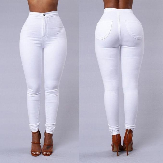 88692a47a1 Moda Mujer Casual Denim Jeans Multi Colores... (white