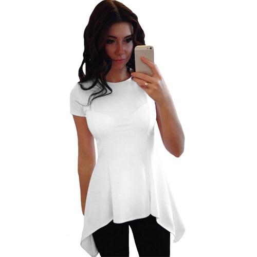 moda mujer irregular peplum hem branco eu