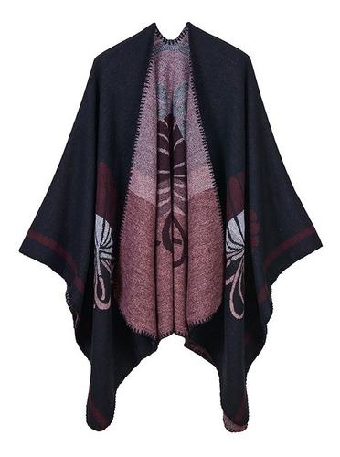 moda mujer poncho cardigan suter estampado floral faux