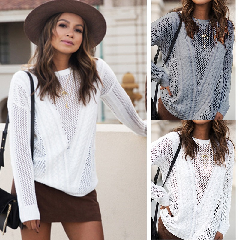 Moda Mujeres De Punto Suéter Hueco Hacia Fuera Manga Largo ...