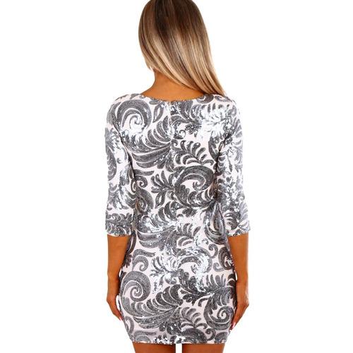 moda mujeres lentejuela mini vestido mitad manga o del cuell