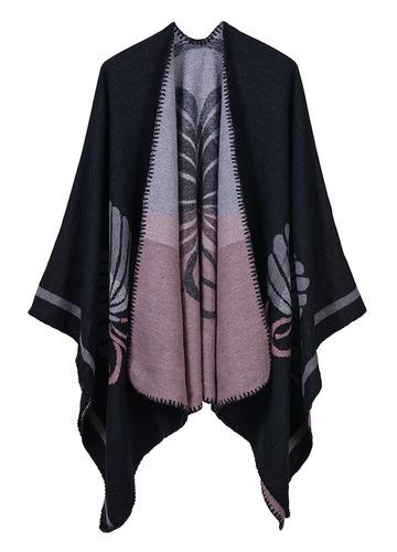 moda mujeres poncho rebeca suéter impresión floral faux