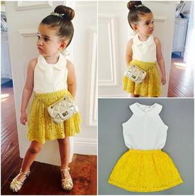 1dd36ace5 Moda Para Niña Outfit Conjunto Falda Con Blusa Blanca Cuello