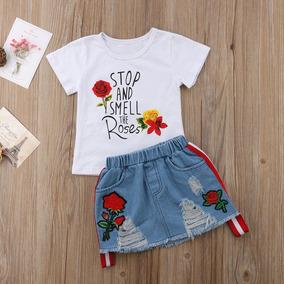 aae116b76 Moda Para Niña Outfit Conjunto Falda Mezclilla Blusa Estampa