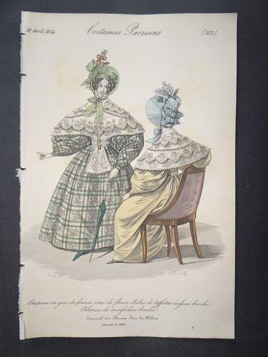 moda parisiense vestidos mantilhas chapéus gravura de 1834