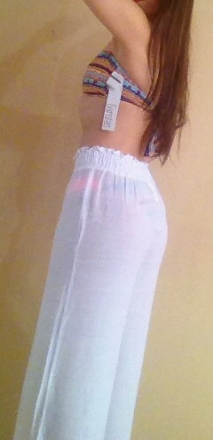moda playera. pantalón playero largo talla s