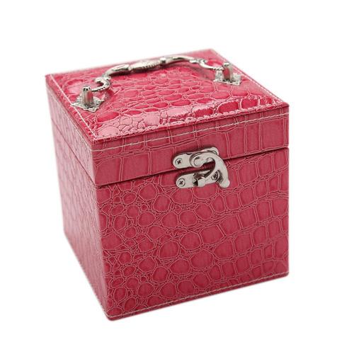 moda portátil joyero de pu de cuero 3 capas rosa