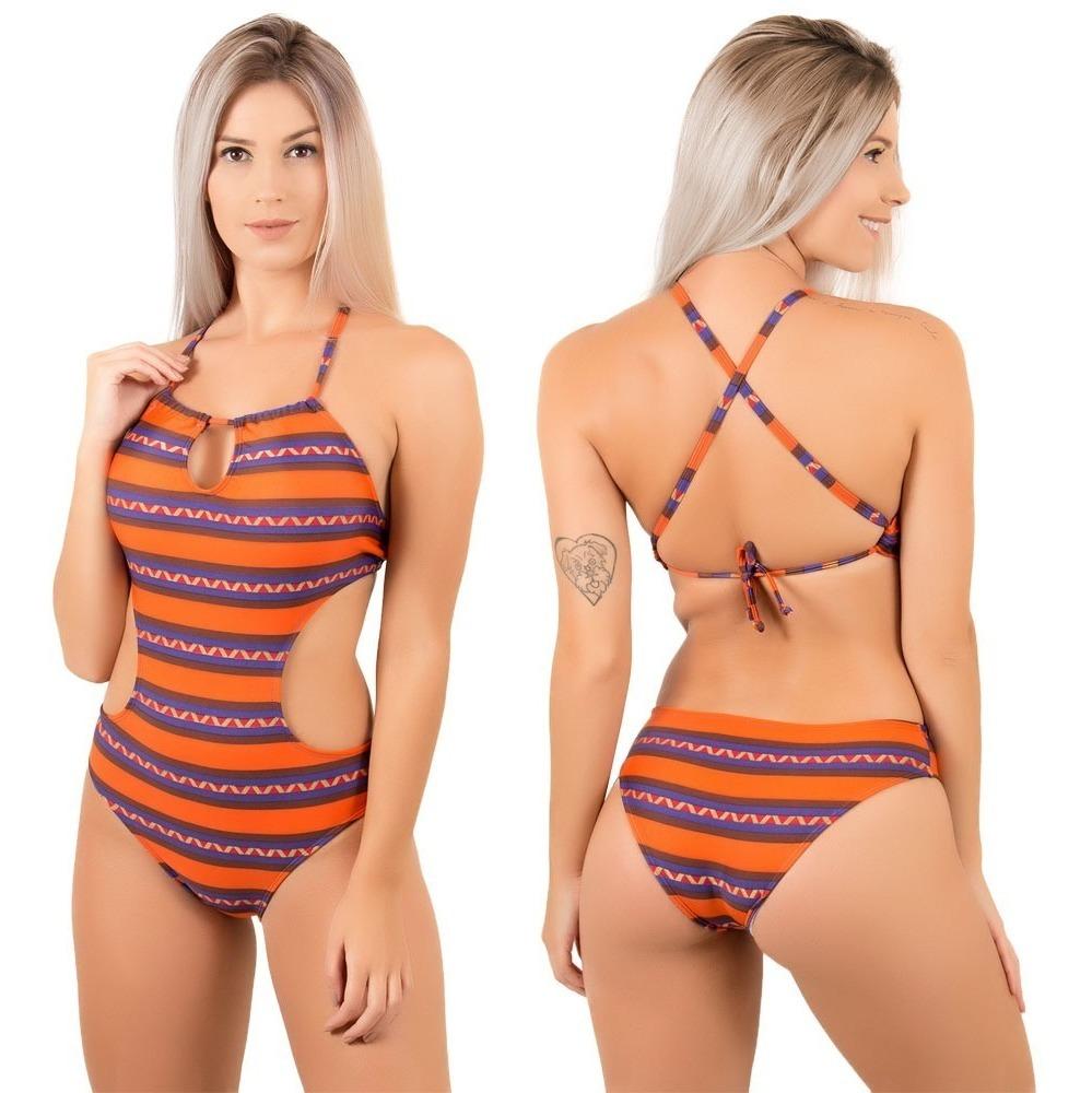 cd5861d183d9 Carregando zoom... kit 5 maiô feminino moda praia engana mamãe body lycra  verão
