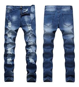 e4f464da2 Moda Rasgada Pierna Recta Pantalones Vaqueros Para Hombres