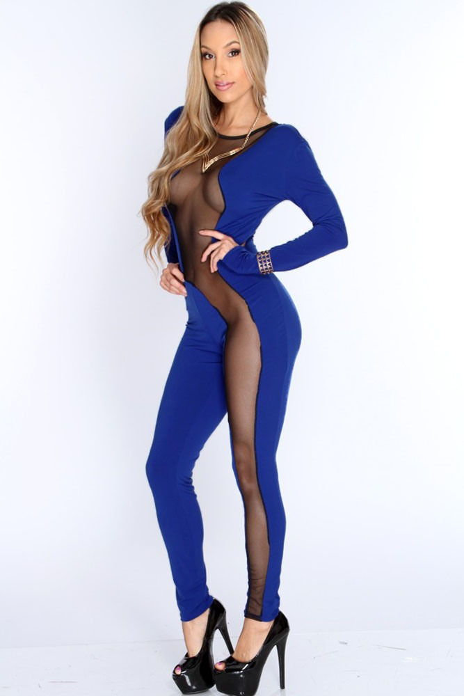 Body Azul Disfraz Niña: Moda Sexy Body Azul Completo Con Transparencias Table