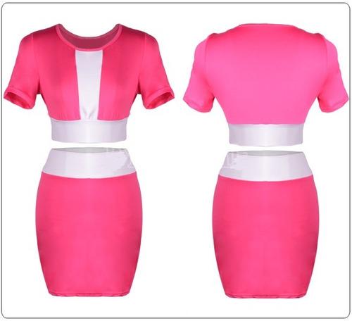 moda sexy conjunto blusa y falda rosa 4 colores antro fiesta