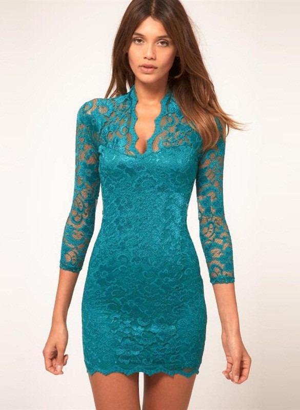 0519da6af vestidos de encaje azul turquesa