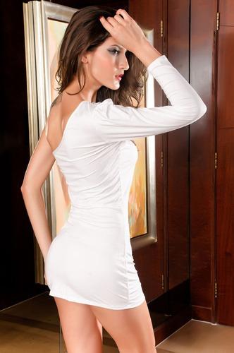 moda sexy mini vestido fiesta blanco una manga antro 2389