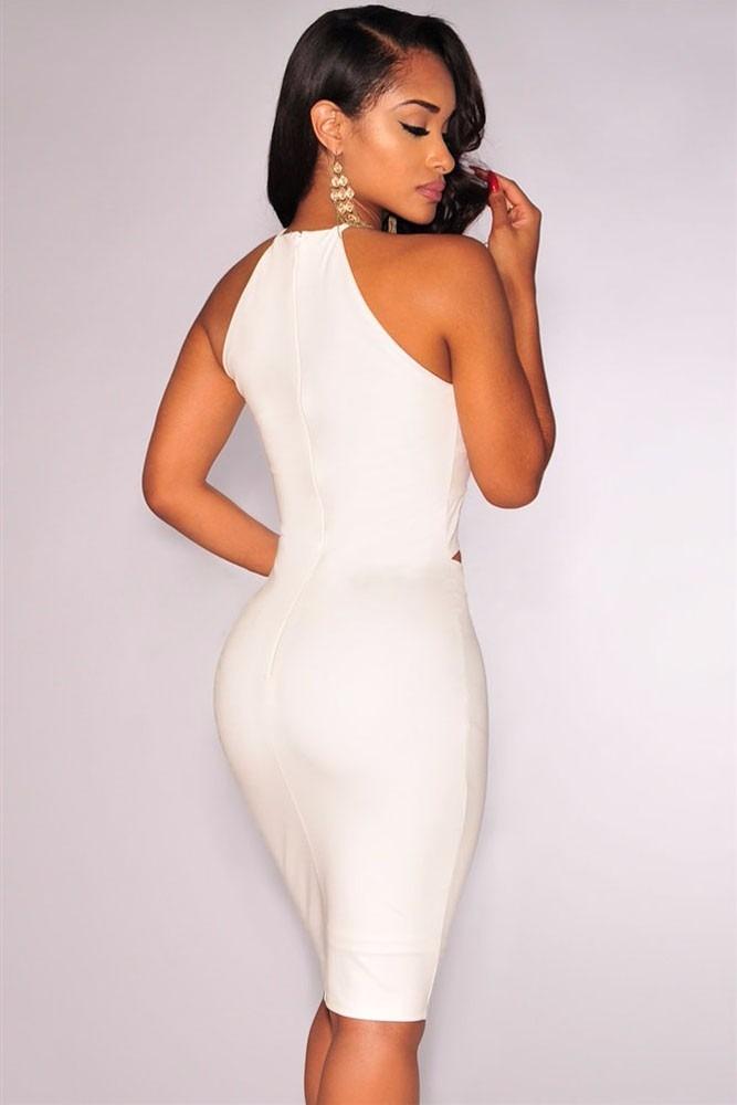 85e6b4a9c moda sexy mini vestido fiesta de tirantes blanco y aberturas. Cargando zoom.