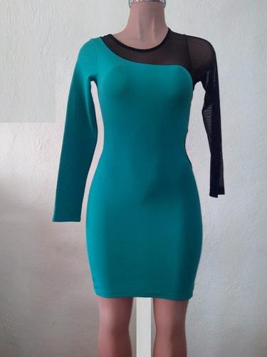 moda sexy mini vestido fiesta menta mangas y transparencias