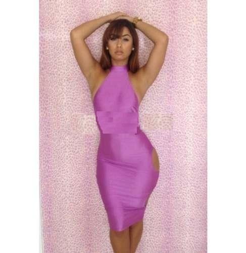 moda sexy mini vestido fiesta morado aberturas en costado