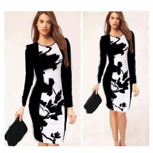 e0ca20e28 Moda Sexy Mini Vestido Fiesta Negro Y Blanco Manga Larga -   440.00 ...