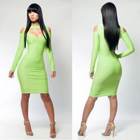 Mini Mangas Verde Neon 21161 Vestido Con Fiesta Sexy Moda HYWDI9E2