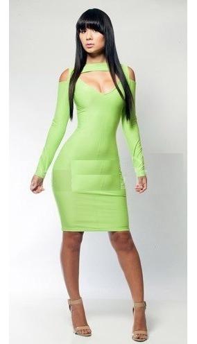 moda sexy mini vestido fiesta verde neon con mangas 21161