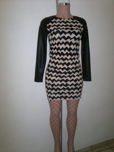 moda sexy mini vestido negro beige con mangas de vinyl