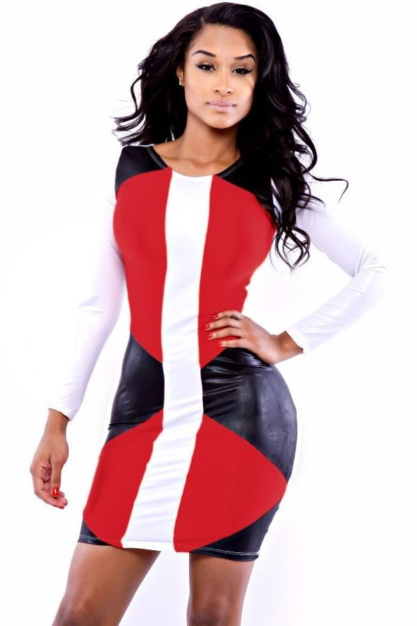 ac7fbd56d moda sexy mini vestido rojo con mangas largas blanco y negro. Cargando zoom.