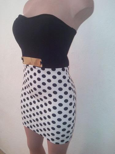 moda sexy mini vestido strapples blanco y negro boleado