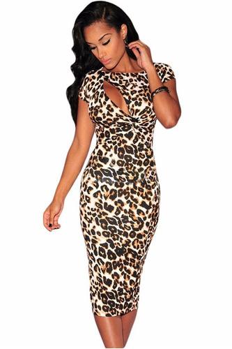 moda sexy vestido animal print abertura escote moda retro