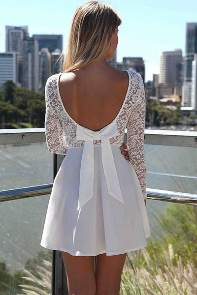 Moda Sexy Vestido Fiesta Blanco Encaje Escote En Espalda -   440.00 ... 37aadbd0598d