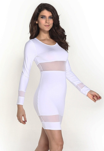 moda sexy vestido fiesta con manga larga y transparencias