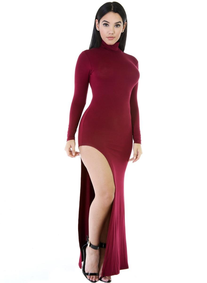 8c89a19fd170c Moda sexy vestido largo vino manga larga fiesta antro cargando zoom jpg  880x1200 Vestidos largos con