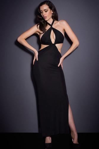 moda sexy vestido negro largo escote frente espalda desnuda