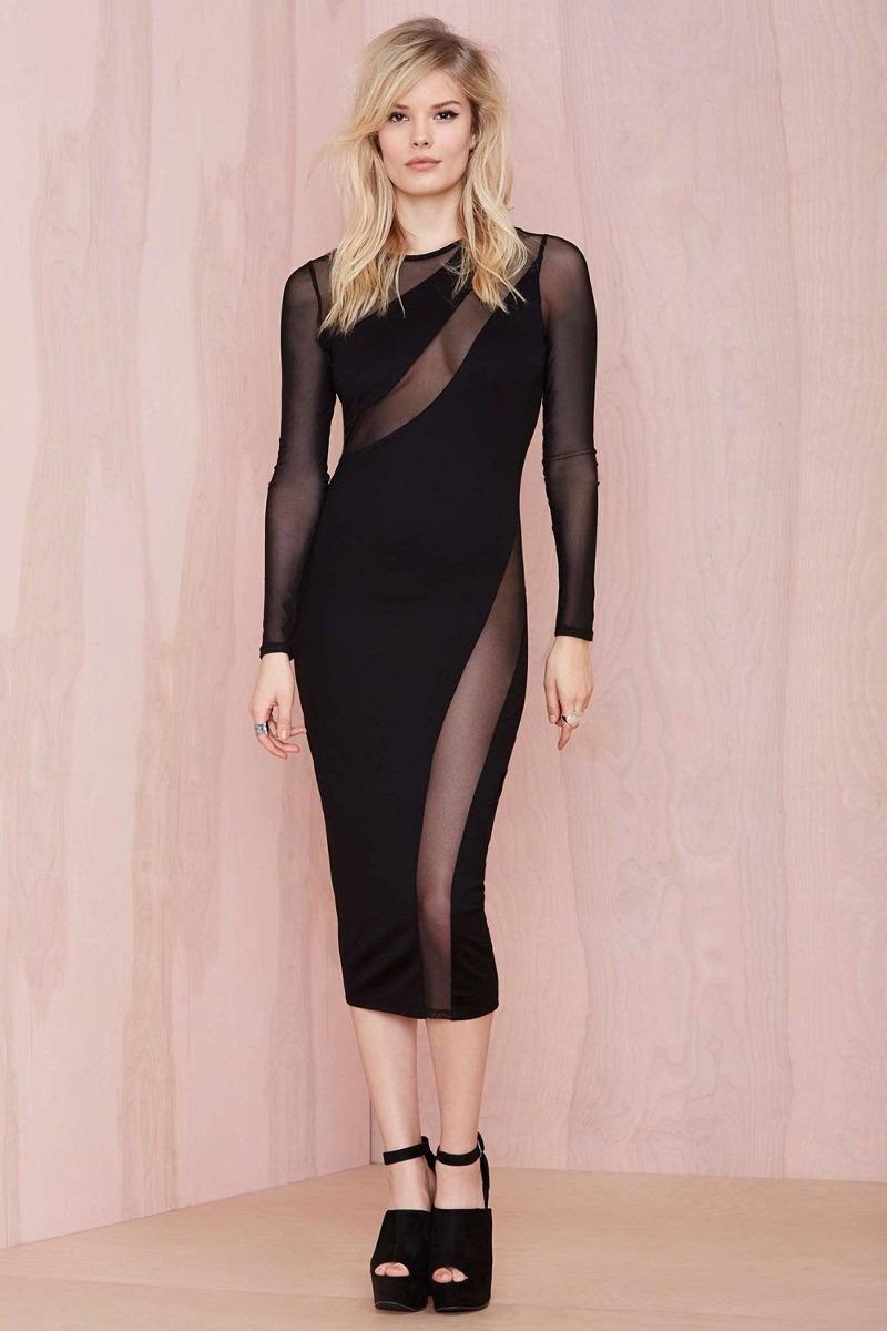 Moda Sexy Vestido Negro Largo Mangas Largas Y Transparencias ...
