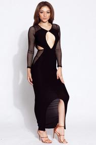 d998f6d3734b Moda Sexy Vestido Negro Largo Transparencias De Encaje 60636
