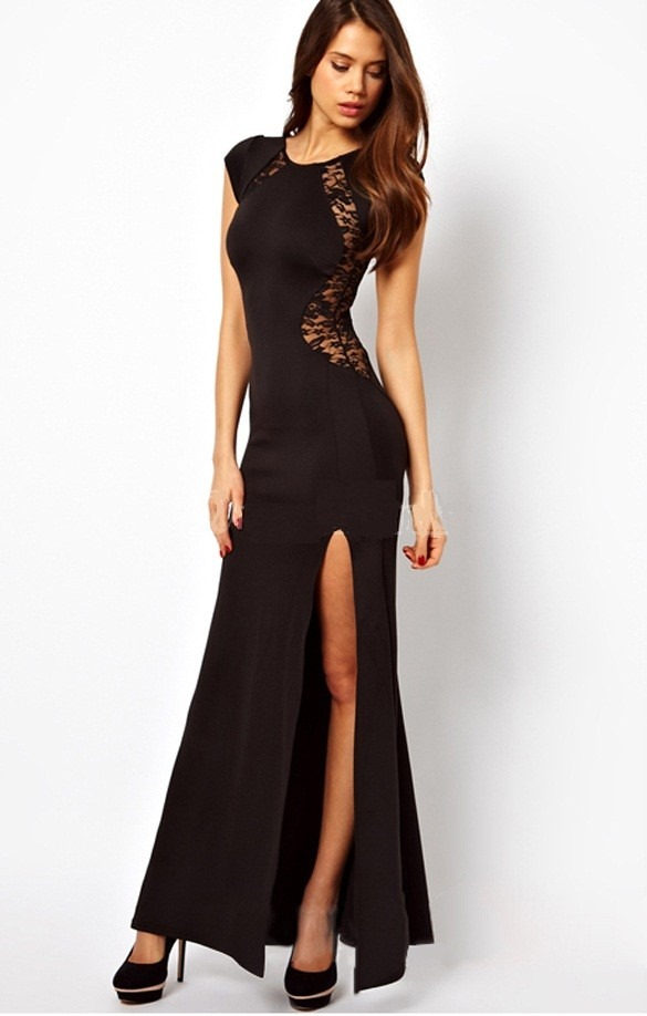 Vestido negro transparencias encaje