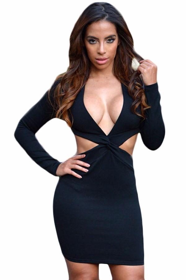 Moda Larga Escote Manga Abertura Negro Espalda Vestido Sexy EroQWdBeCx