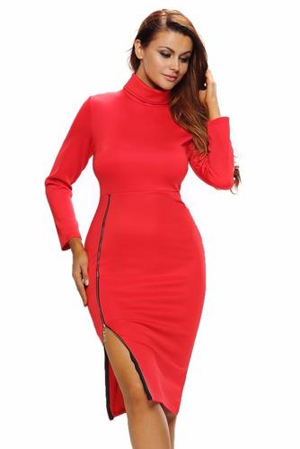 moda sexy vestido rojo manga larga con cierre 61292